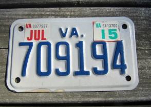 Virginia Motorcycle License Plate 2015