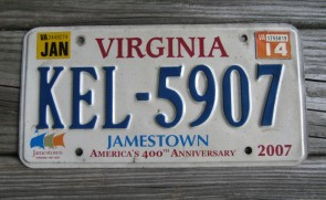 Virginia Jamestown 400th Anniversary License Plate 2014