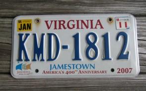 Virginia Jamestown 400th Anniversary License Plate 2011