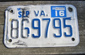 Virginia Motorcycle License Plate 2016