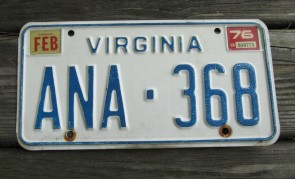 Virginia Blue Border License Plate 1976