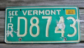 Vermont Green White See Vermont  License Plate 1973