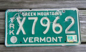 Vermont Green Mountains License Plate 1988