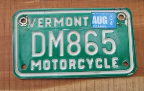 Vermont Motorcycle License Plate Green White 2004