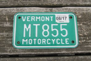 Vermont Motorcycle License Plate Green White 2017