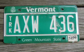Vermont Green Mountain State License Plate 2006
