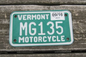 Vermont Motorcycle License Plate Green White 2016