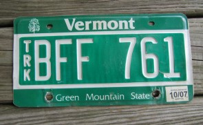 Vermont Green Mountain State License Plate 2007