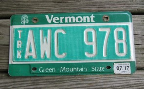 Vermont Green Mountain State License Plate 2017
