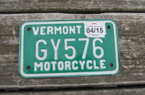 Vermont Motorcycle License Plate Green White 2015