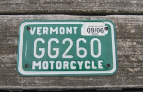 Vermont Motorcycle License Plate Green White 2006