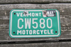 Vermont Motorcycle License Plate Green White 1990