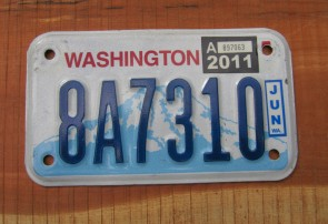 Washington Motorcycle License Plate Mount Rainier Volcano 2011