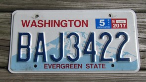 Washington Mt Rainier License Plate 2017