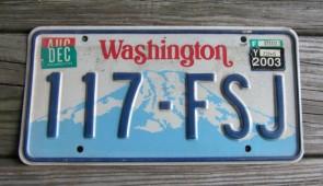 Washington Mt Rainier License Plate 2003
