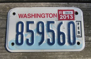 Washington Motorcycle License Plate Mount Rainier Volcano 2013