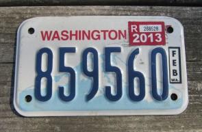 Washington Motorcycle License Plate Mount Rainier Volcano 2013