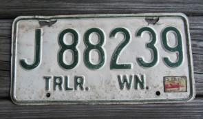 Washington Green White License Plate 1972