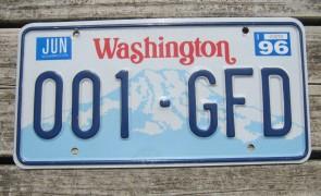 Washington Mt Rainier License Plate 1996