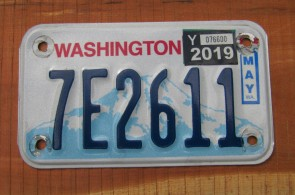 Washington Motorcycle License Plate Mount Rainier Volcano 2019