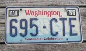 Washington Green White License Plate 1974