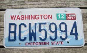 Washington Mt Rainier License Plate 2017