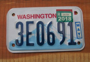 Washington Motorcycle License Plate Mount Rainier Volcano 2018