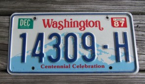Washington Mt Rainier License Plate Centennial Celebration 1987