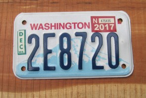 Washington Motorcycle License Plate Mount Rainier Volcano 2017