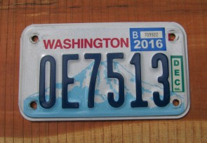 Washington Motorcycle License Plate Mount Rainier Volcano 2016