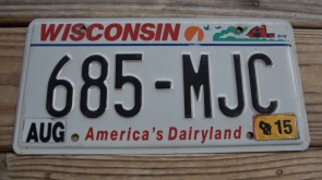 Wisconsin America's Dairyland License Plate 2015