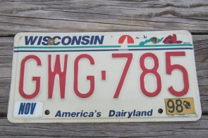 Wisconsin America's Dairyland License Plate 1998