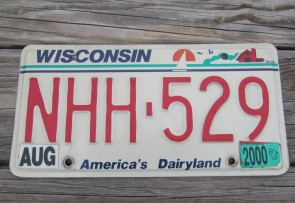 Wisconsin America's Dairyland License Plate 2000