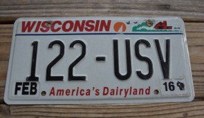 Wisconsin America's Dairyland License Plate 2016