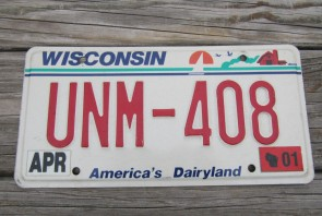 Wisconsin America's Dairyland License Plate 2001
