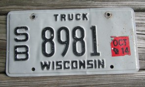Wisconsin Grey Black Truck License Plate 2014