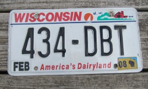 Wisconsin America's Dairyland License Plate 2008