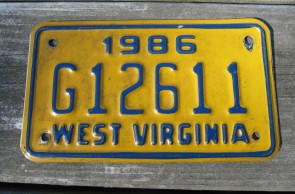 West Virginia Motorcycle License Plate Yellow Blue 1986