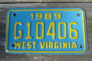 West Virginia Motorcycle License Plate Yellow Blue 1989