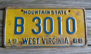 West Virginia Mountain State License Plate 1968 B 3010