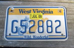 West Virginia Motorcycle License Plate Wild Wonderful Motorcycle Rider 2009