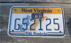 West Virginia Motorcycle License Plate Wild Wonderful Motorcycle Rider 2010