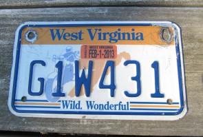 West Virginia Motorcycle License Plate Wild Wonderful Motorcycle Rider 2013