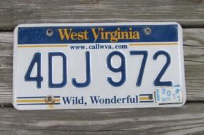 West Virginia Wild Wonderful License Plate 2011 4DJ 972 Call WVA