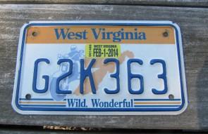 West Virginia Motorcycle License Plate Wild Wonderful Motorcycle Rider 2014