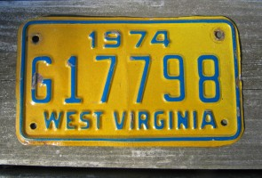 West Virginia Motorcycle License Plate Yellow Blue 1974