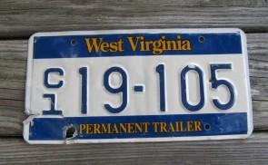 West Virginia Wild Wonderful License Plate Permanent Trailer