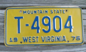 West Virginia Mountain State License Plate 1975 T 4904