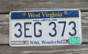 West Virginia Wild Wonderful License Plate 2017 3EG 373