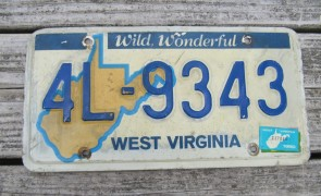 West Virginia Blue Yellow Motorcycle License Plate 1990's